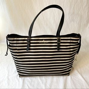 Kate Spade black white stripe nylon tote bag
